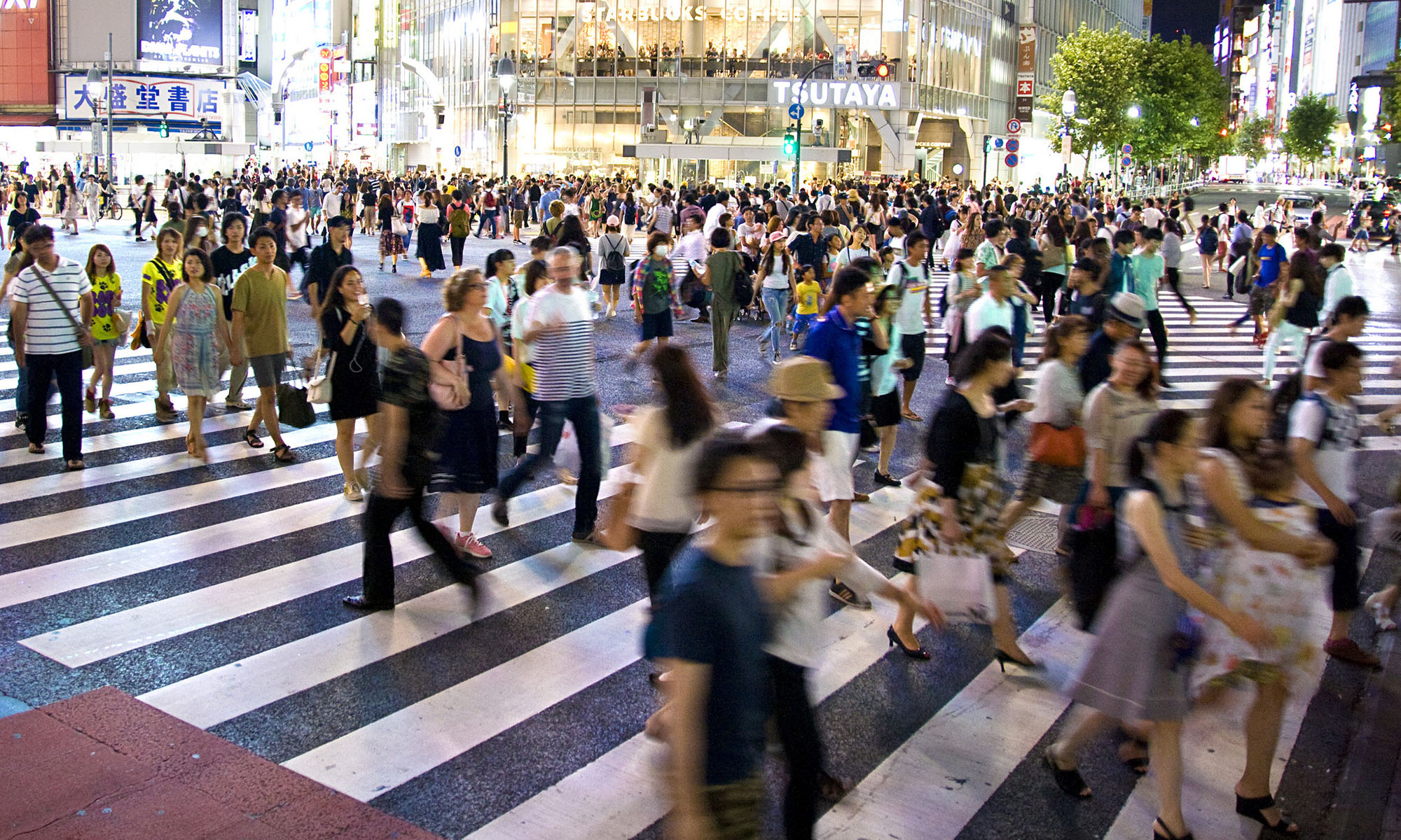 Pedestrian scramble, Shibuya, Tokyo (By Dimitry B. used under Creative Commons license CC BY 2.0.)