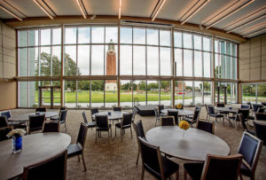 View of the Coughlin Campanile from the SDSU Alumni Center, Brookings, S.D., TSP Inc., photo by Greg Latza Photography (Architecture category entry)